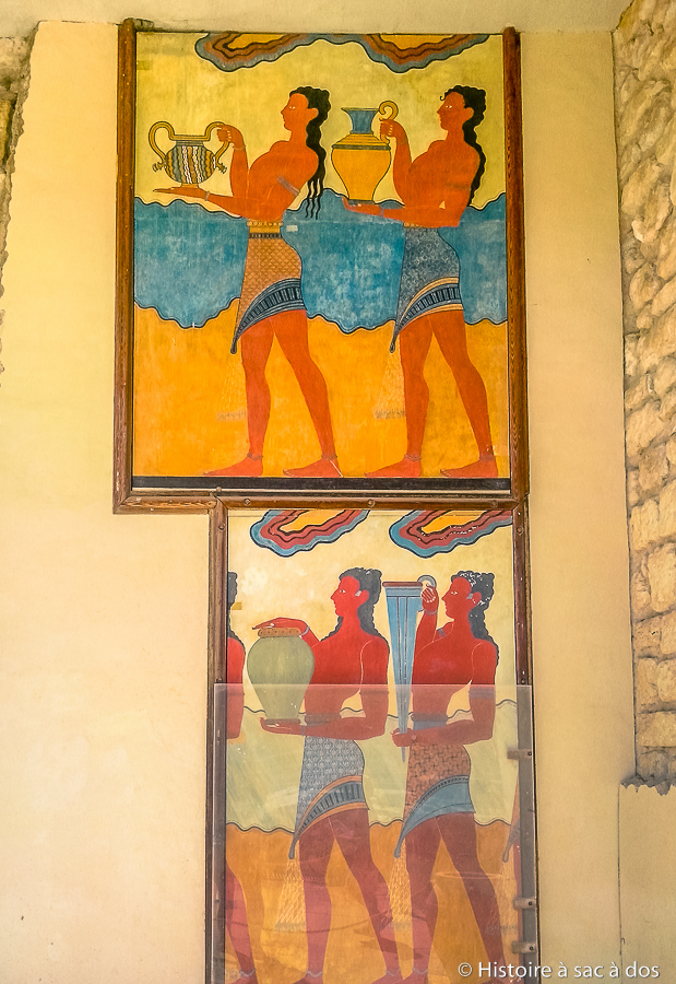 "Reproduction des fragments de la fresque ""La procession"" à Cnossos"