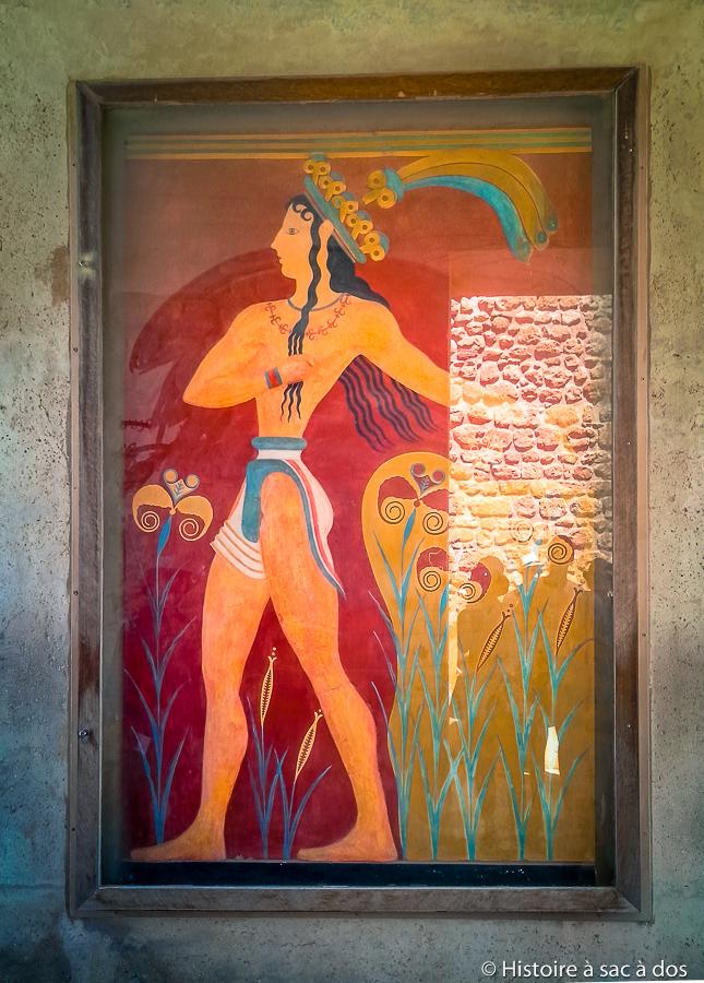 Copie de la fresque du prince aux fleurs de lys - Palais de Cnossos en Crète