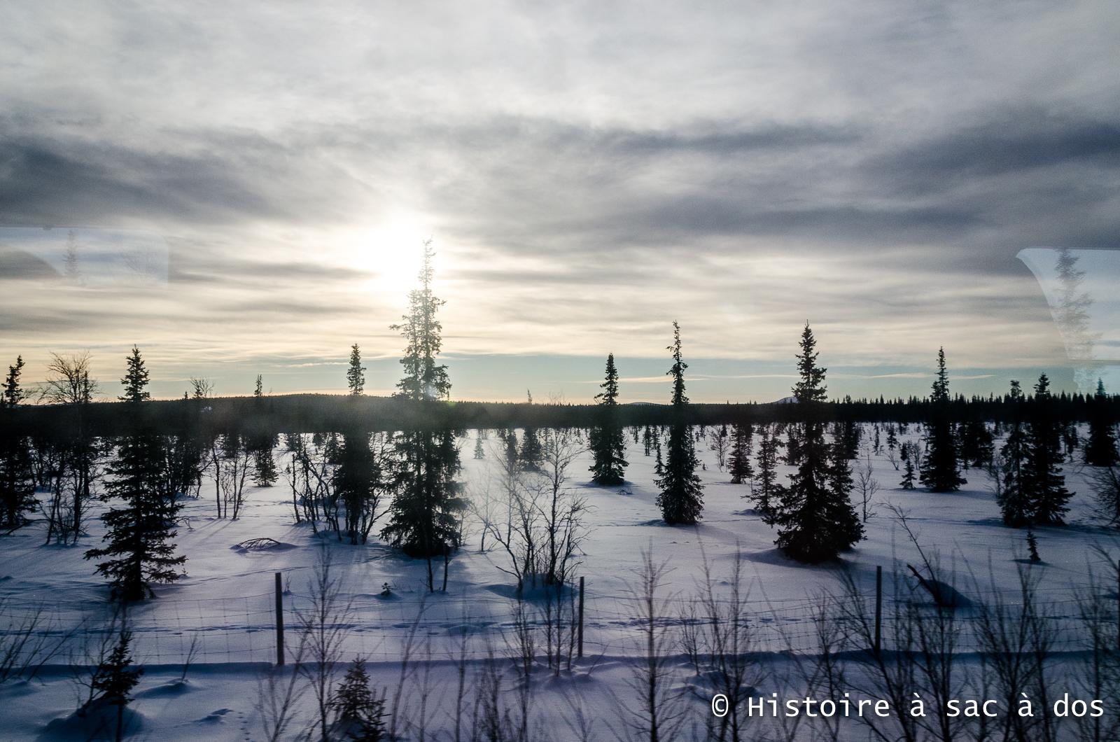 Nord de la Suède - Paysage enneigé vu du train