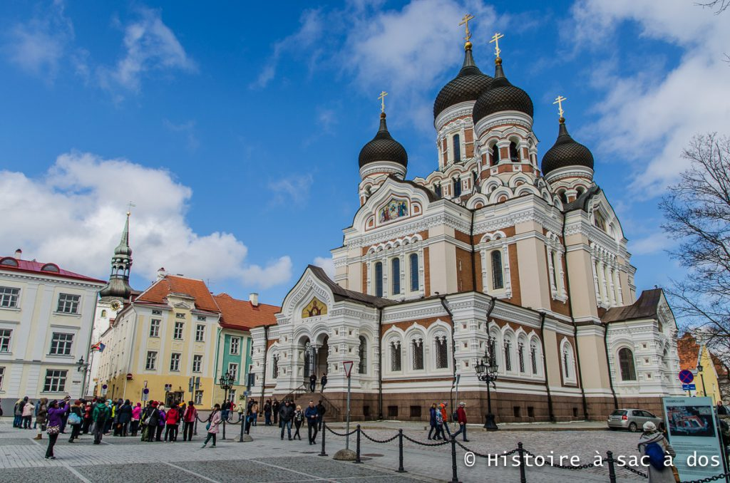 Cathédrale Alexandre Nevsky de Tallinn. Cette sublime église orthodoxe fut achevée en 1900. L'Estonie était alors rattachée à l'empire russe. Cette église est dédié au prince de Novgorod Alexandre Nevsky, vainqueur de la bataille du lac Peipsi en 1242 contre une armée germanique.