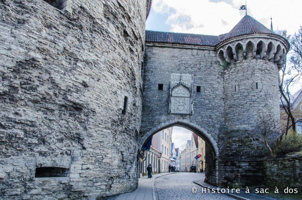 Alors que la ville moderne est à seulement quelques pas derrière nous, cette immense porte nous fait pénétrer dans le passé médiéval de Tallinn. Construite au XVème siècle et XVIème siècle, la porte est ornée de superbes armoiries mettant en scène deux griffons. La date 1529 indique l'année où la porte fut achevée.