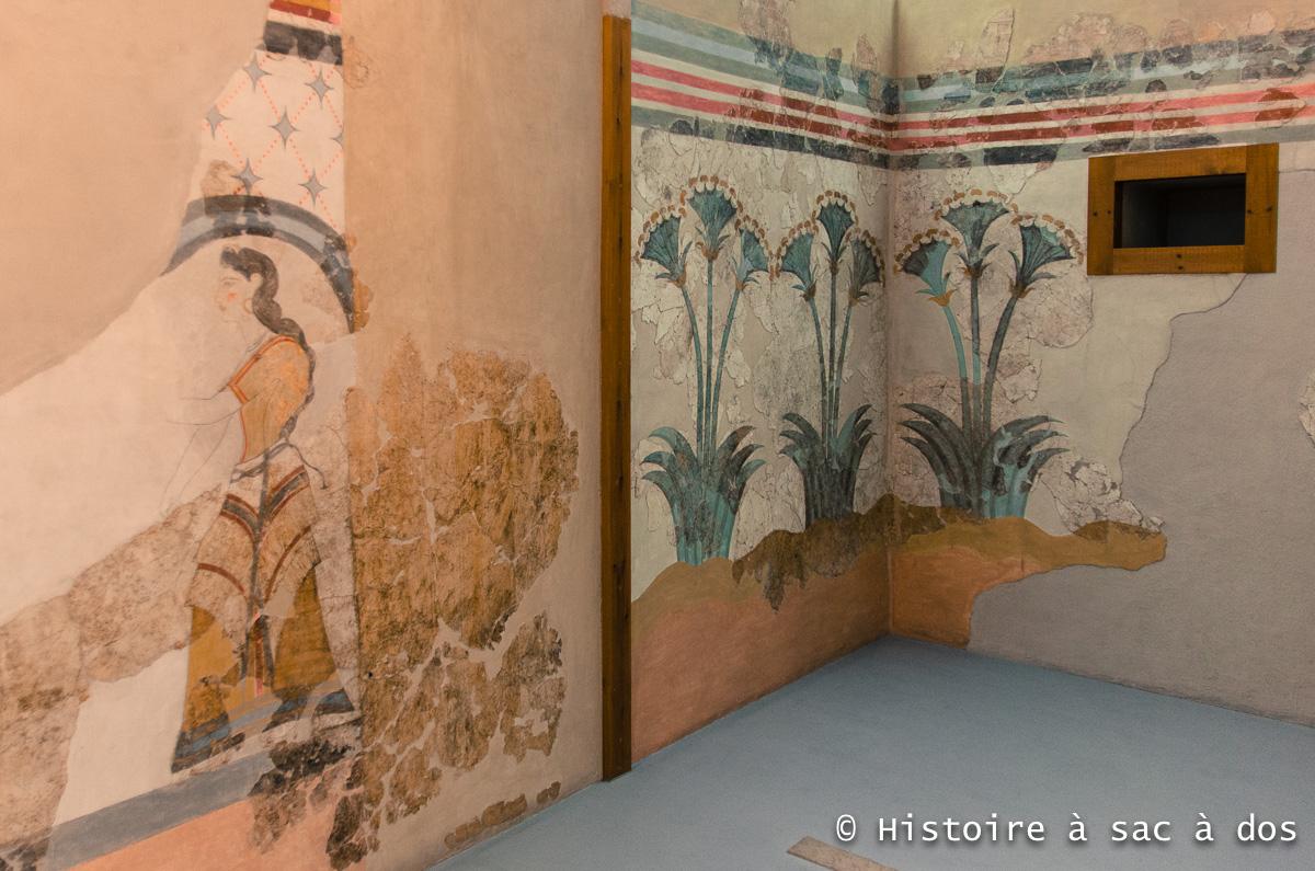 Peinture murale d'Akrotiri - Musée préhistorique de Théra