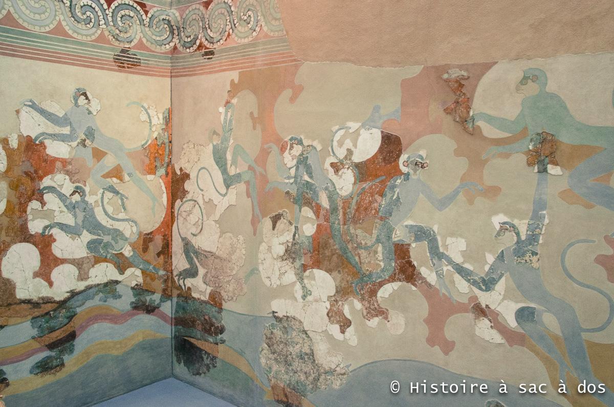 Fresque des singes bleus - Akrotiri, aujourd'hui exposée au Musée préhistorique de Théra