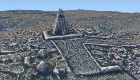 Reconstitution de la pyramide détectée à Tikal