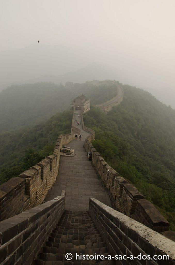 Histoire de la Muraille de Chine. Section Mutianyu construite sous les Ming au XVè et XVIè siècle, près de Pékin.